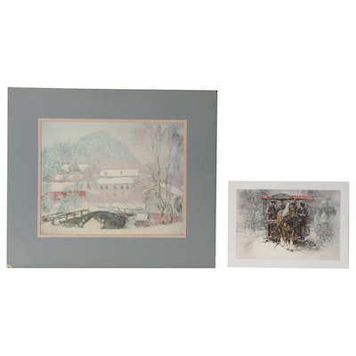 Winter Scene Offset Lithographs After Claude Monet and Frank McElwain