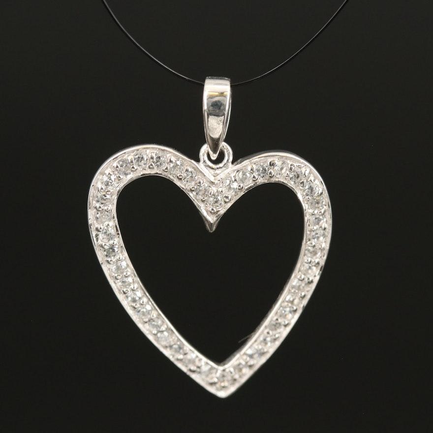 Sterling Silver Zircon Heart Pendant