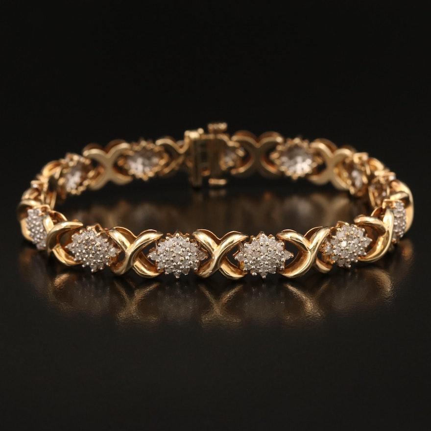 "10K 2.92 CTW Diamond Cluster ""X and O"" Bracelet"