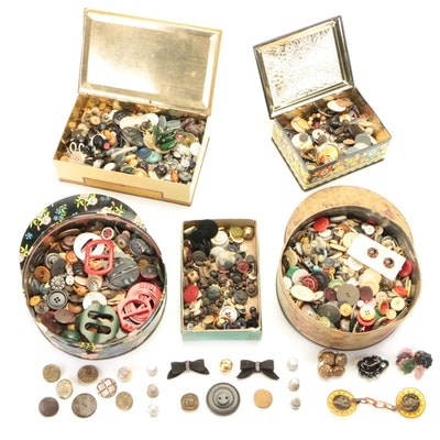 Plastic, Metal, Wood Buttons, Buckles, and Sewing Notions, 20th Century