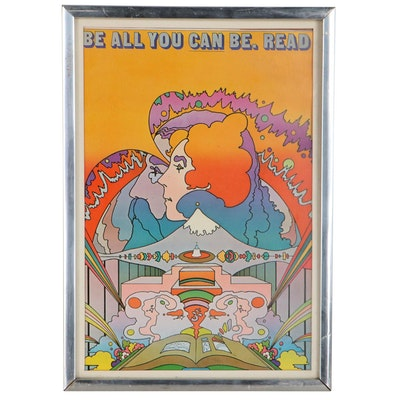 """Offset Lithograph After Peter Max """"Be All You Can Be. Read,"""" Late 20th Century"""