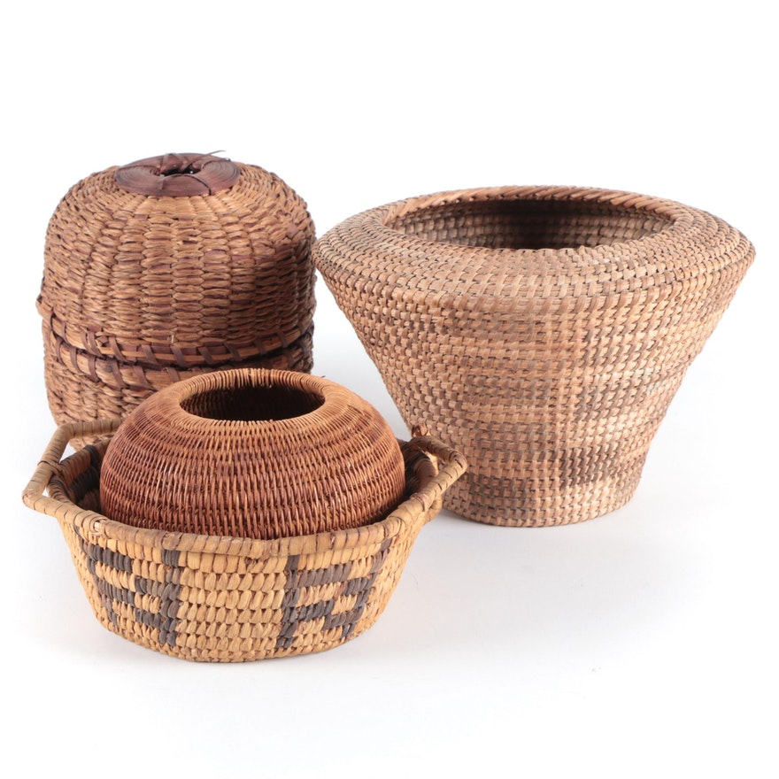 Handwoven and Coiled Decorative Baskets, 20th Century