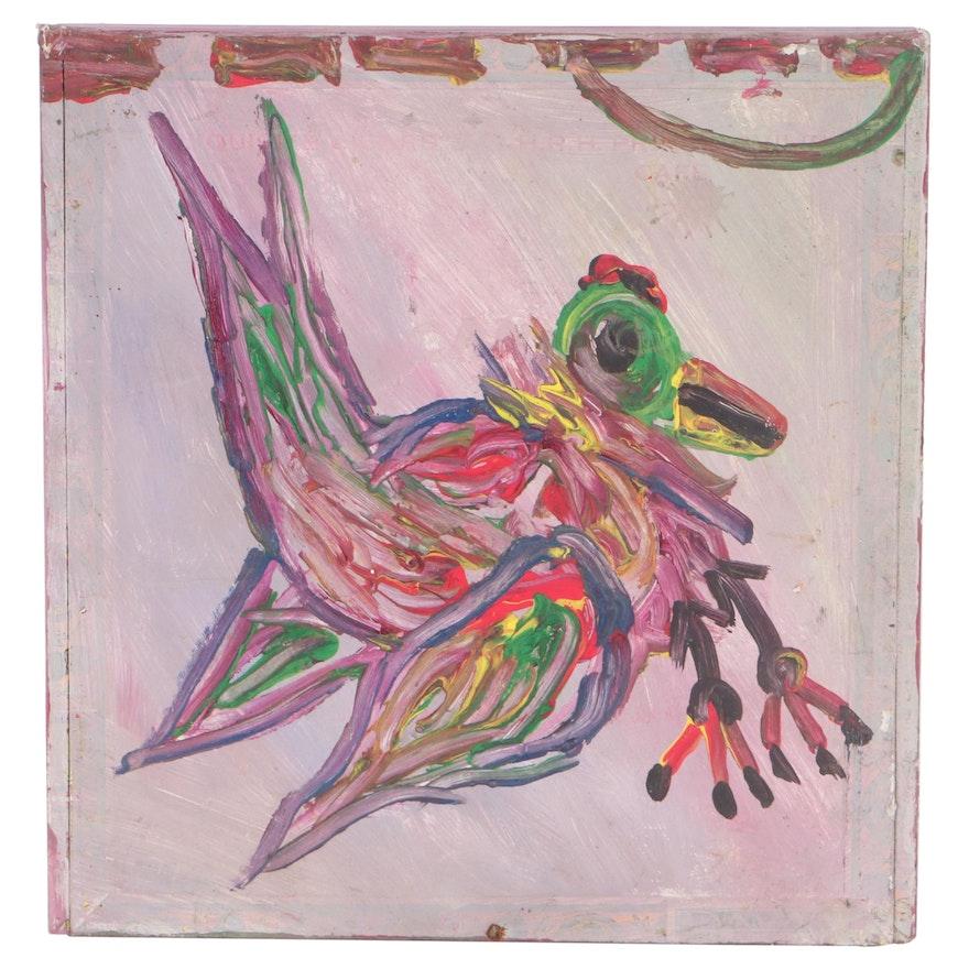 Robert Wright Folk Art Acrylic Painting on Cigar Box of Bird