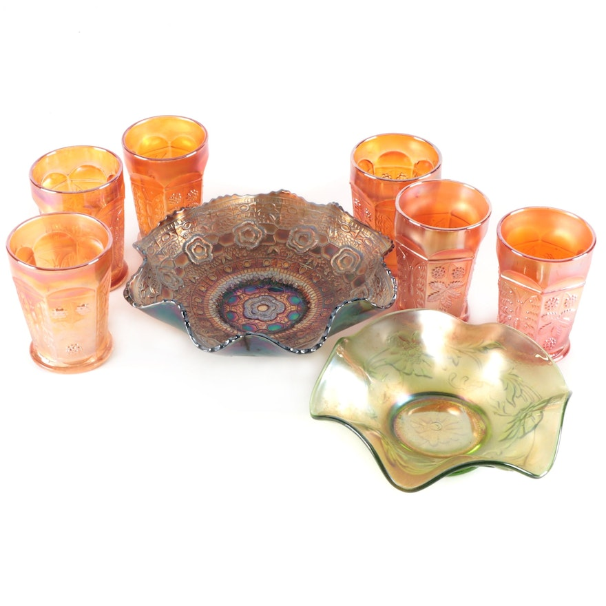 """Fenton Marigold """"Butterfly and Berry"""" Tumblers and Other Carnival Glass Bowls"""