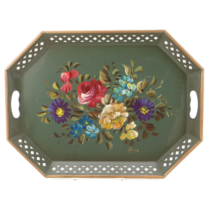 Nashco Hand-Painted Floral Motif Tray, Mid to Late 20th Century