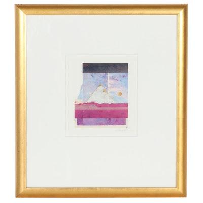 "Mark L. Hornyak Mixed Media Painting ""November Moon,"" 1994"