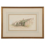 Jane Brewster Reid Nantucket Cottage Watercolor Painting, Early-Mid 20th Century