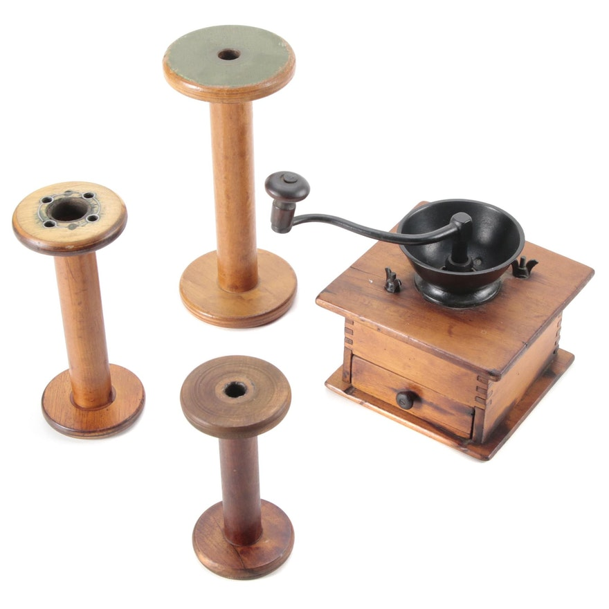 Wooden Hand Crank Coffee Grinder and Threading Spools