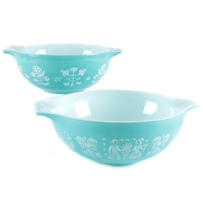 """Pyrex """"Butterprint"""" and """"Embroidery"""" Milk Glass Mixing Bowls, Mid-20th C."""
