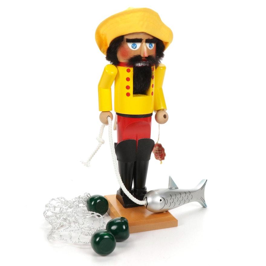 """Steinbach Handcrafted """"Fisherman"""" Wooden Nutcracker"""