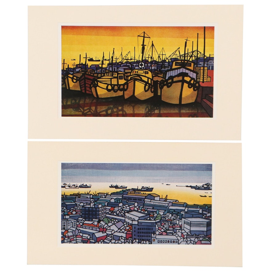 Offset Lithographs in The Style of Clifton Karhu of Harbors, Circa 2000