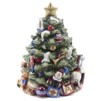 Ceramic Christmas Tree Figural Cookie Jar