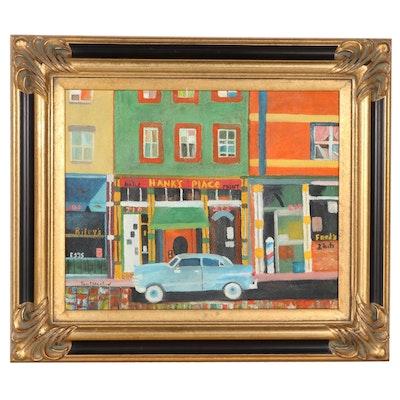 "Tom Mershon Folk Art Oil Painting ""Main Street,"" Circa 2000"