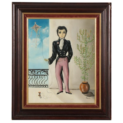 Folk Style Oil Painting of Man Holding Kite, Mid-Late 20th Century