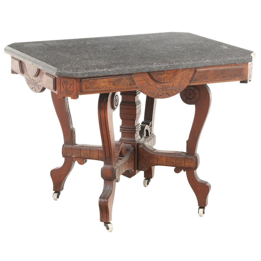 Victorian Eastlake Marble Top Walnut Center Table, Late 19th Century