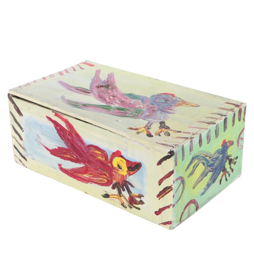 Robert Wright Folk Art Acrylic Painting on Cigar Box of Birds