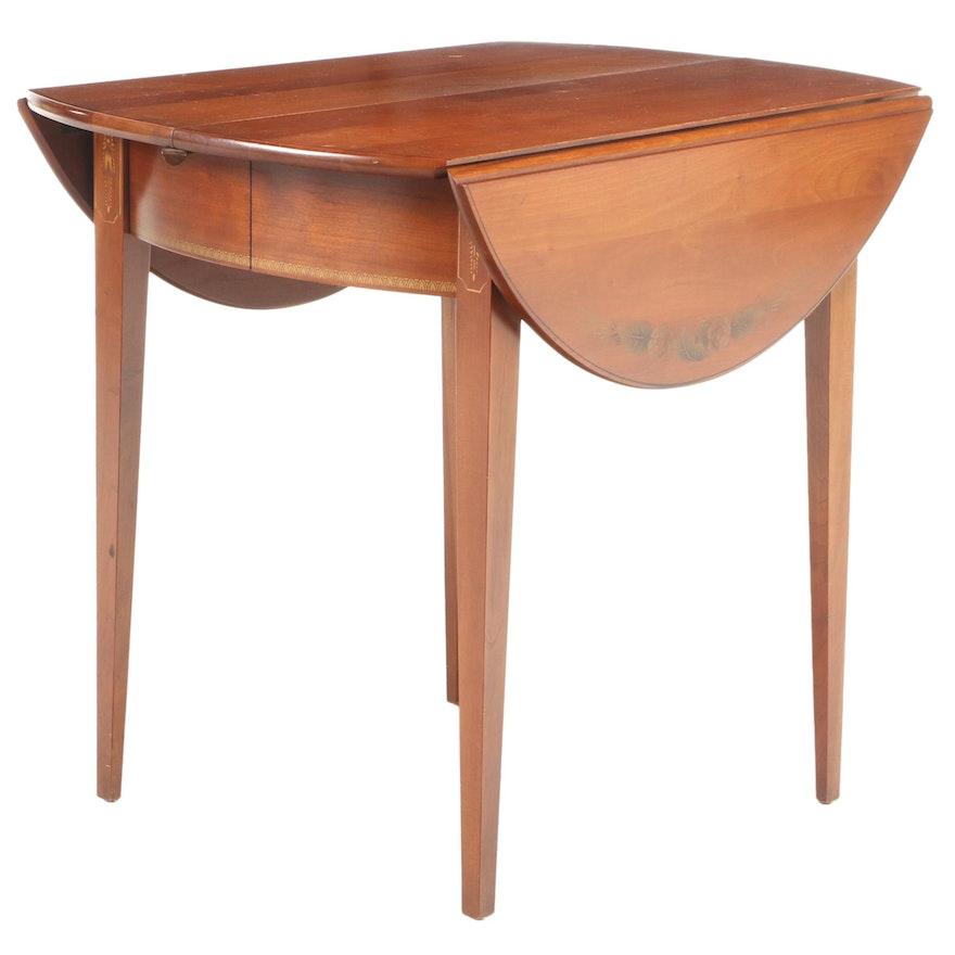 L. Hitchcock Hepplewhite Style Cherry Breakfast Table, Mid-20th Century