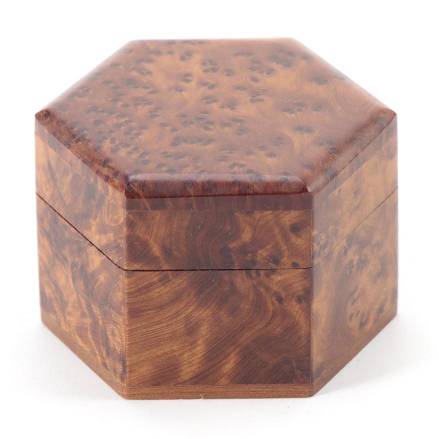 Handcrafted Hexagonal Burl Wood Trinket Box