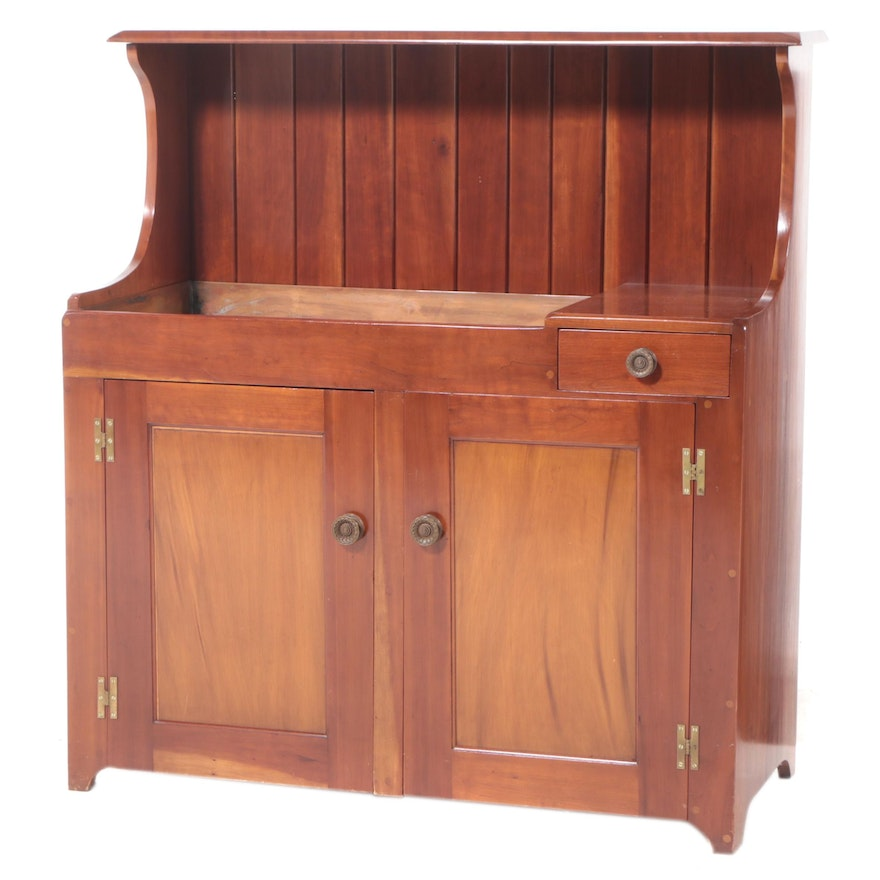 American Primitive Style Cherry Dry-Sink Bar Cabinet