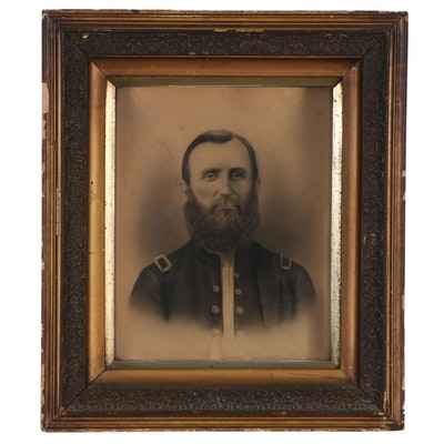 Crayon Portrait of Solider, Late 19th Century