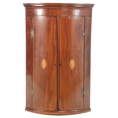 George III Mahogany Hanging Corner Cabinet with Shell Marquetry Inlay