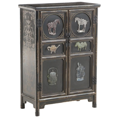 Chinese Incised Lacquered Cabinet with Carved Stone Detail