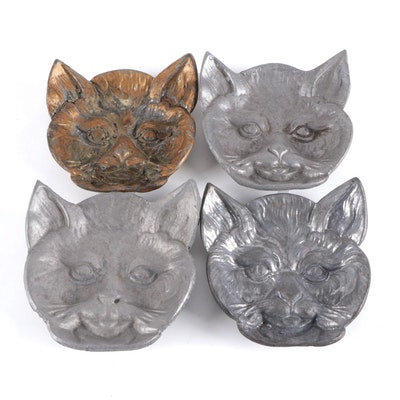 Cast Metal Figural Cat Form Trinket Dishes, 20th Century