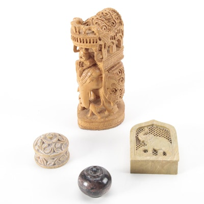 East Asian Hand-Carved Stone Trinket Boxes with Wood Elephant Figure