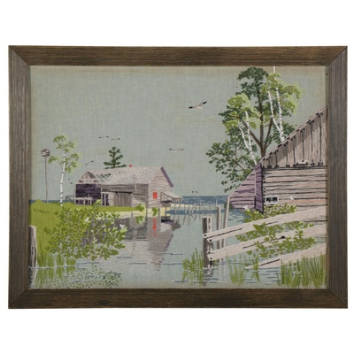 National Paragon Embroidery Panel of Flooded Coastal Cottages, Circa 1977