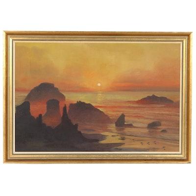 Toby Birr Sunset Seascape Oil Painting, 1969