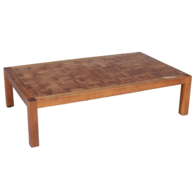 Mid Century Modern Walnut Parquet Top Coffee Table