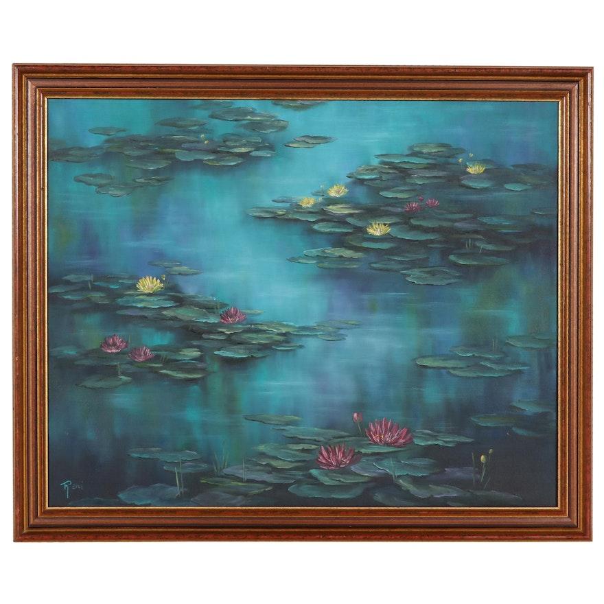"Reni Zamberlan Oil Painting ""Water Lilies"""