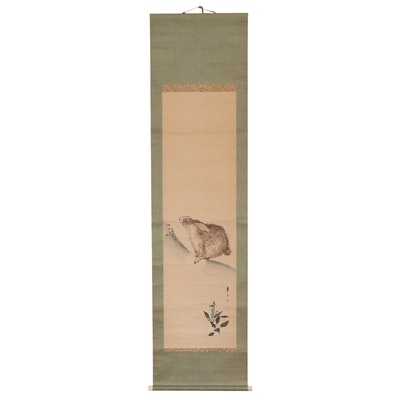 Japanese Ink Wash Painting of Rabbit Mounted on Hanging Scroll
