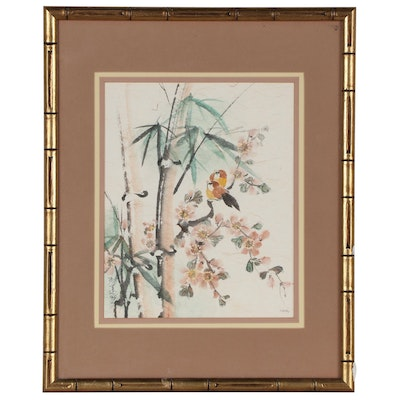 Charlotte Fung Miller Watercolor Painting of Birds and Bamboo
