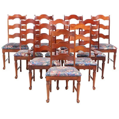 Set of Ten Arched Ladder-Back Dining Chairs