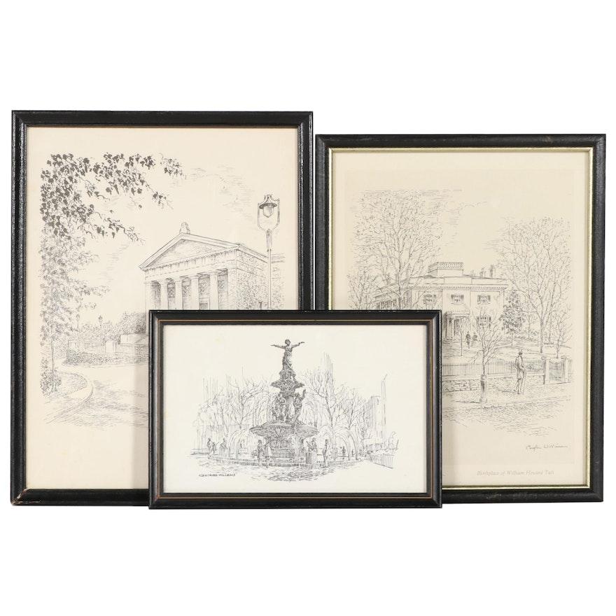 Caroline and George Williams Lithographs And Halftone of Cincinnati Landmarks