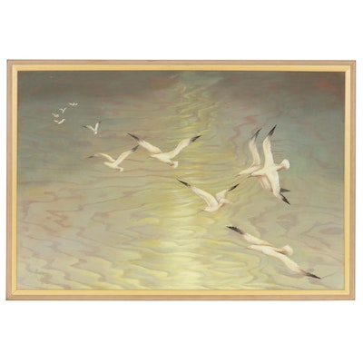 Marge Wing Oil Painting of Seagulls, Late 20th Century