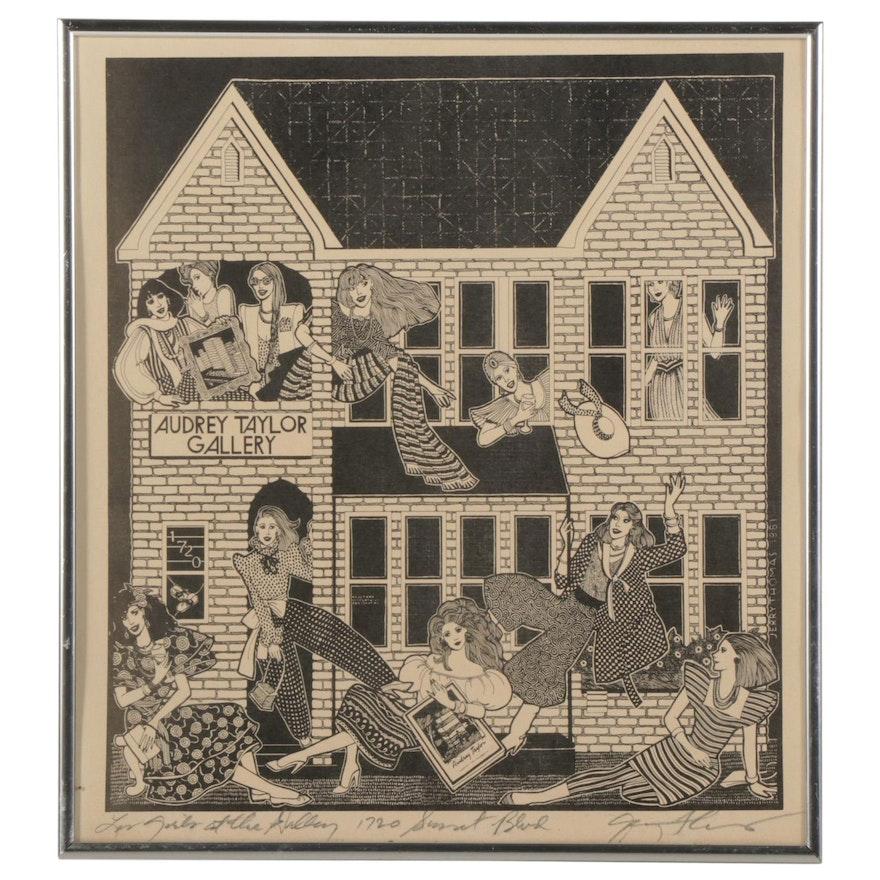 "Jerry Thomas Lithograph ""1720 Sunset Blvd.,"" Circa 1981"