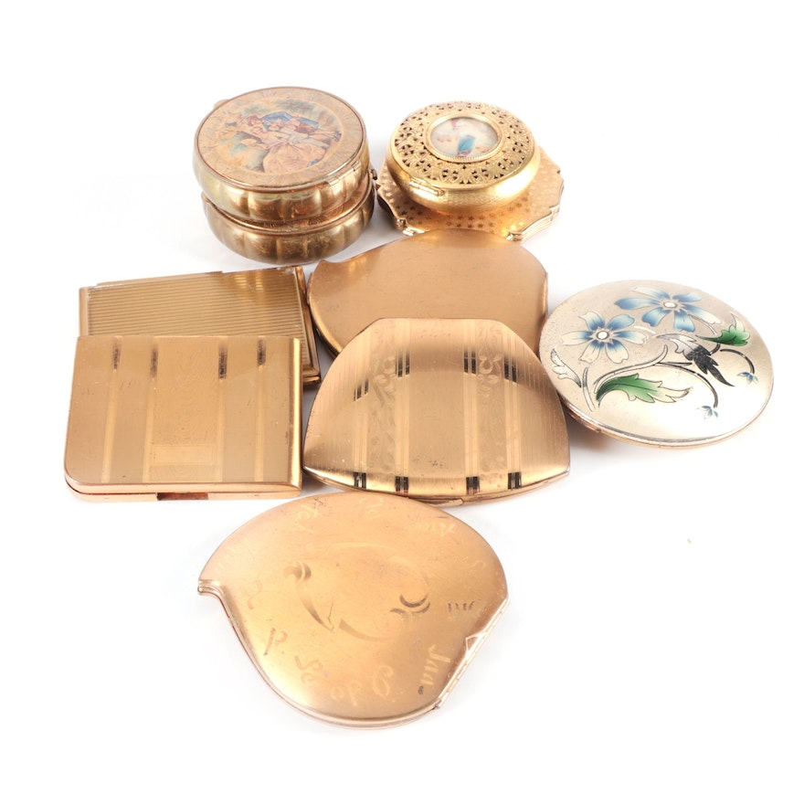 Elgin American, Stratton, and Other Make-Up Compacts, Mid-20th Century