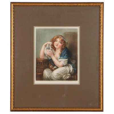 "Sydney E. Wilson Mezzotint After Jean-Baptiste Greuze ""Girl with Doves"""