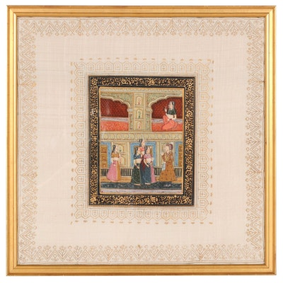Rajput Style Gouache Painting of Court Scene, 20th Century