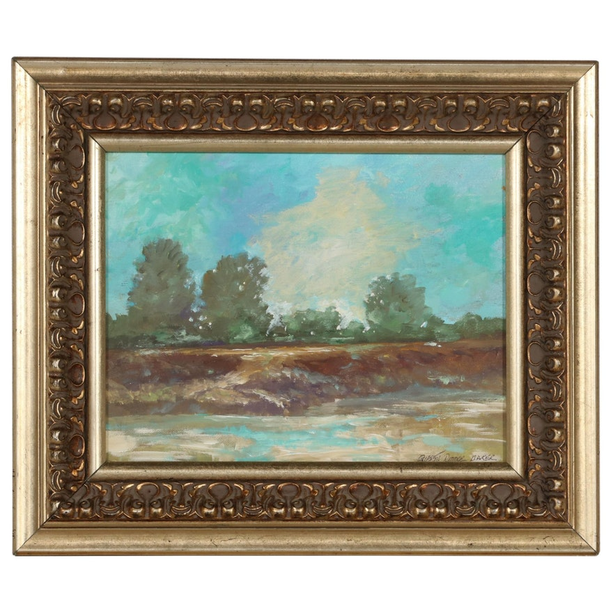 """Robert Riddle-Baker Landscape Acrylic Painting """"Low Water Mark"""""""