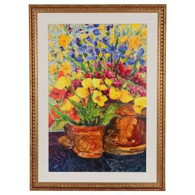 Floral Still Life Ink Painting, Circa 2000