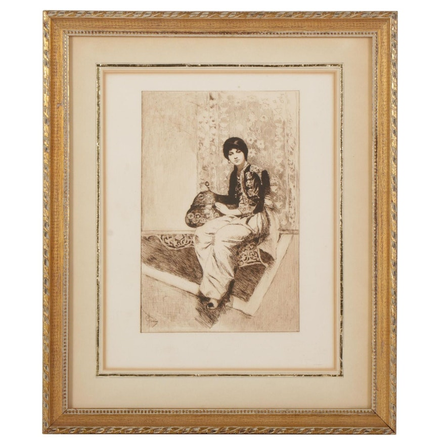 Etching After Jean-Léon Gérôme of Seated Moroccan Woman, Early 20th Century