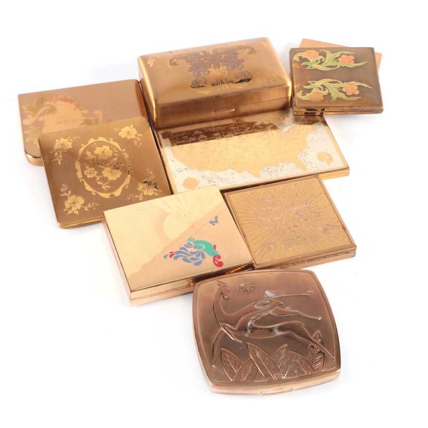 Elgin American, Pilcher, and Wadsworth Make-Up Compacts, Mid-20th Century