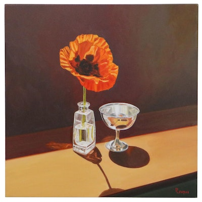 """Peter Lentini Still Life Oil Painting """"Reluctant,"""" 21st Century"""