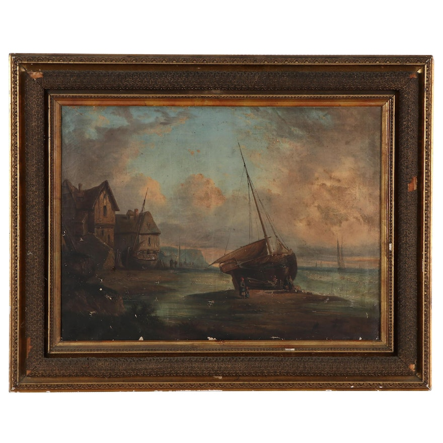 Landscape Oil Painting of Coastal Town, Late 19th-Early 19th Century