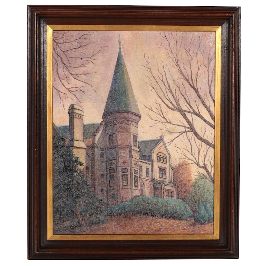 Cincinnati Architectural Oil Painting of Bishop's Place, 1958