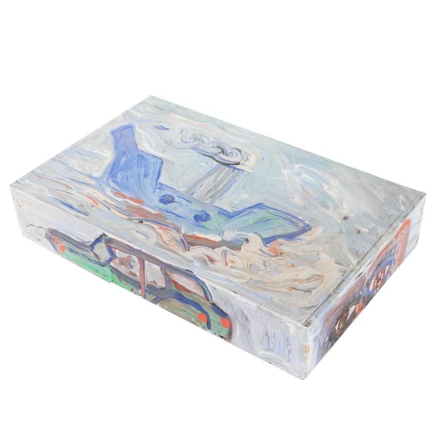 Robert Wright Folk Art Acrylic Painting on Cigar Box