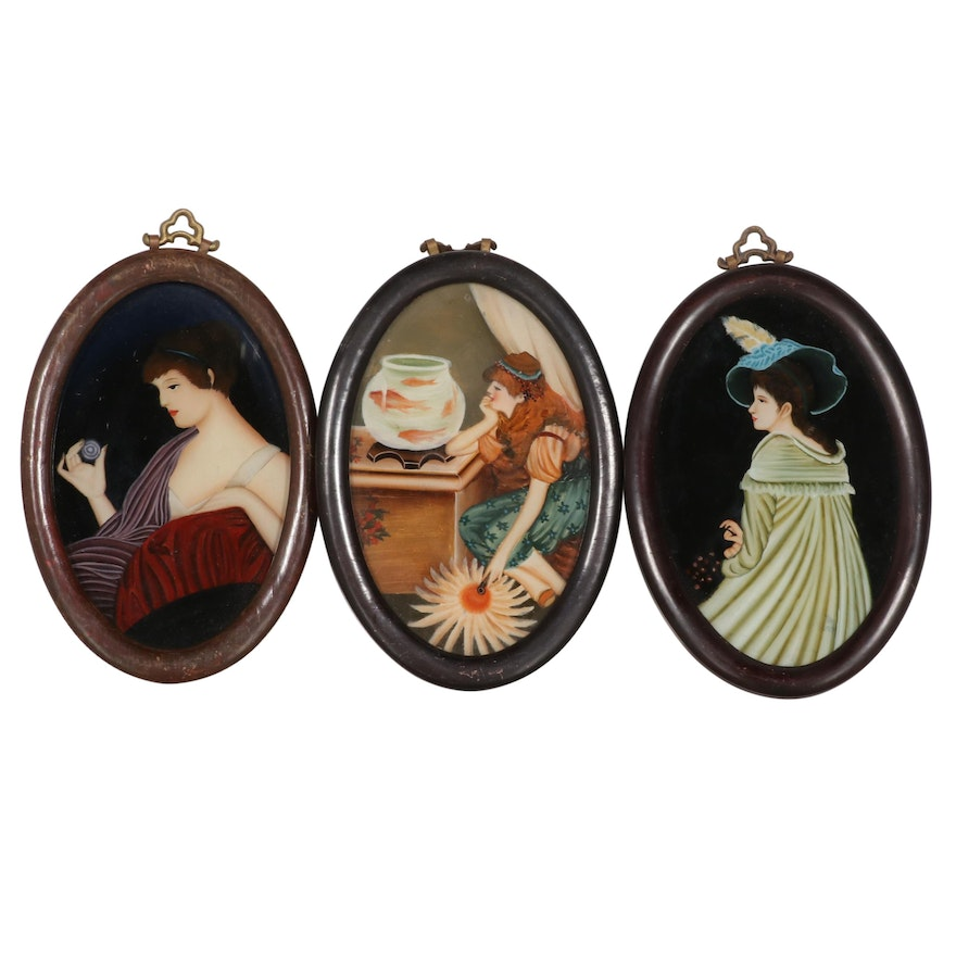 Reverse Glass Paintings of Women, Early 20th Century